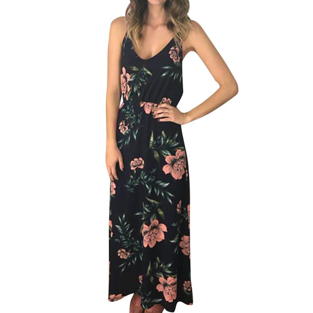 c7511fbb36b Acheter Bohe D été Longue Robe Maxi D été Femmes 2019 Floral Leaves  Imprimer Party Clubwear Strappy Robe De Plage Sans Manches De  29.16 Du  Feeling06 ...
