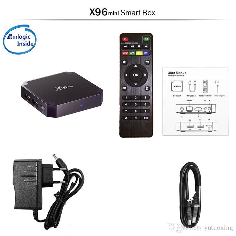 X96 Mini Android 9.0 TV Box Quad Core 2GB 16 Go Amlogic S905W Média Player Smart Set Set Coffesilles supérieures