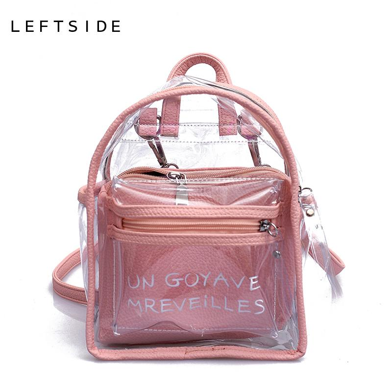 f42afbf1cc27 LEFTSIDE Women Transparent Jelly Small Backpacks Girls Mini Clear Backpack  2018 Summer New Fashion Letter Back Pack Drop Ship Waterproof Backpack Kids  ...