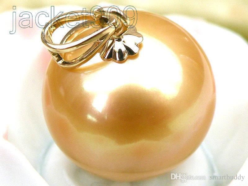 FINE PEARLS JEWELRY GENUINE 12mm round golden yellow south sea pearl pendant 14k solid