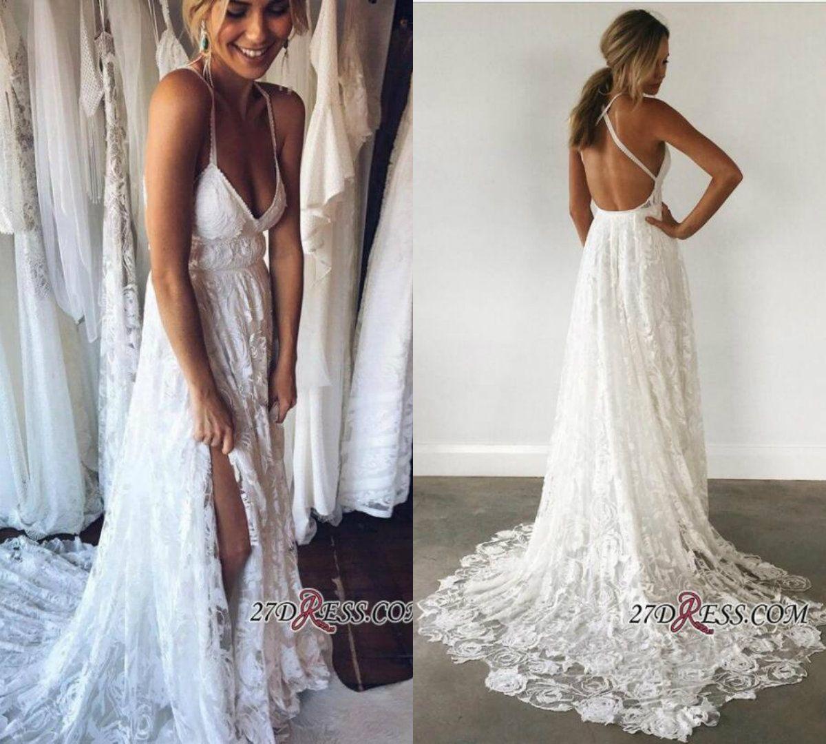 d693fce5590a4 Discount 2018 A Line Beach Bohemian Wedding Dresses Spaghetti Strap Side  Split Sexy Backless Boho Wedding Gowns Appliques Lace Bridal Dress Cheap  Long ...