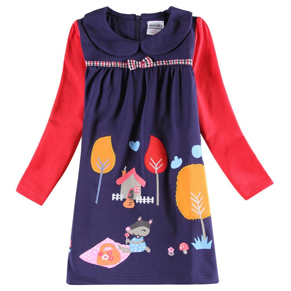 Retail NOVA kids clothes2016 latest item girls dresses cute flower animal pattern fall winter children's frocks baby girl dress