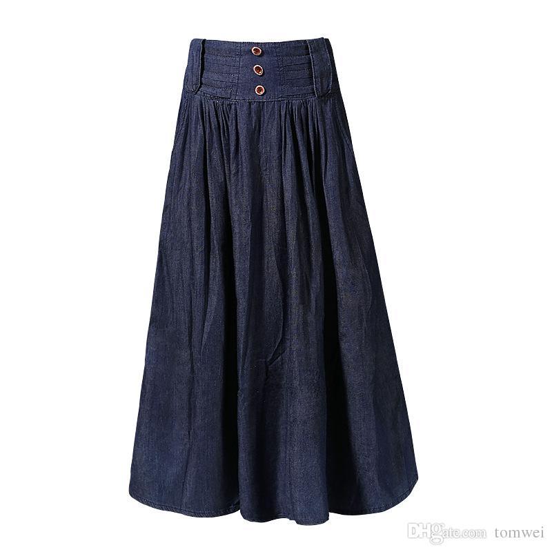 2019 Denim Long Pleated Skirt Female High Waist Jeans Skirt Summer Spring  Clothing 2018 Ankle Length New Arrival From Tomwei cbb0c7947800