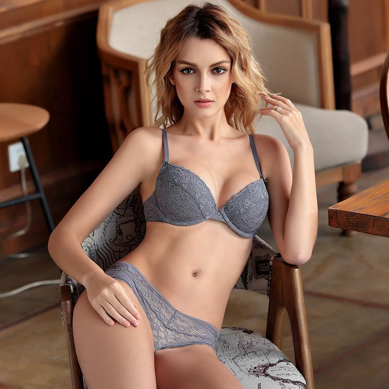 2019 Roseheart Women Fashion Gray UnderWire Bralette Cotton Panties Push Up  Bra Sexy Lingerie Sets Underwear Cup A B C Plus Size From Bclothes002, ... 4b282926d2e