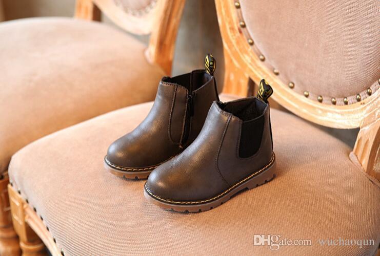 Crianças Outono Bebê Meninos Oxford Sapatos Para Crianças Botas de Vestido Meninas Moda Martin Botas Criança PU Ieather Botas Preto Marrom Cinza