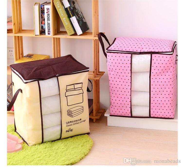Quilt Storage Bag Visible Non-Woven Family Save Space Organizador Bed Under Clothes Box Closet Storage Box