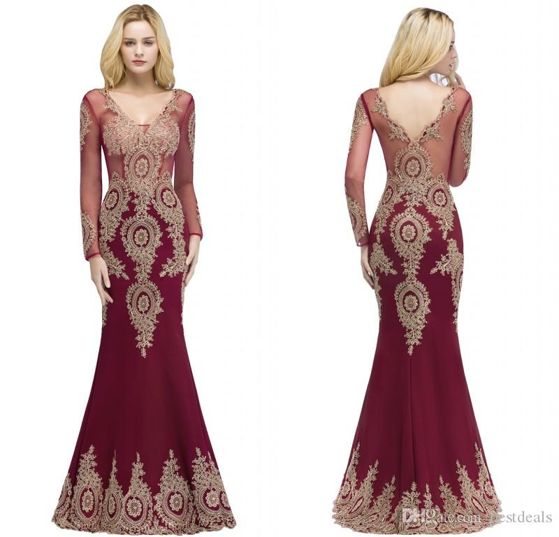 2018 Designer Burgundy Mermaid Evening Dresses V Neck Sheer Long ...