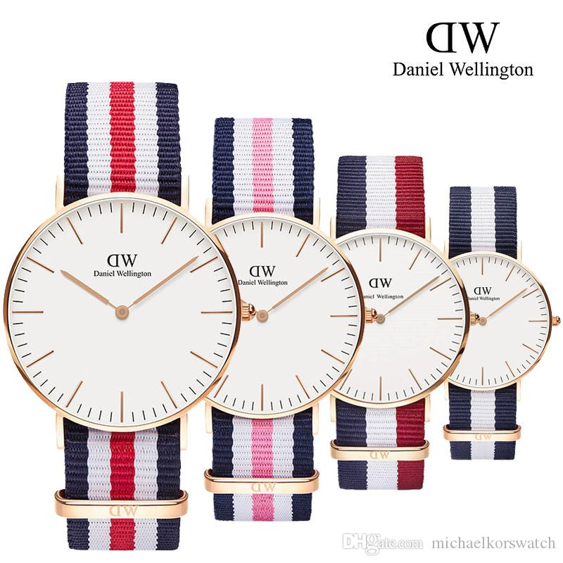 9f97e80fe0b3a 2019 Famous Brand Daniel Women Mens Wellington S WATCHes Fashion Nylon  Strap Style 40mm Rose Gold Mens Watches Marcas With Gift Box Relojes Wrist  Watch Gold ...
