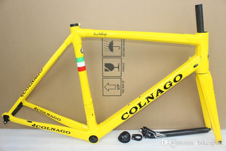 yellow painting glossy finish black logo Colnago C60 frame carbon road bike Frame carbon bicycle black color design frameset high quality