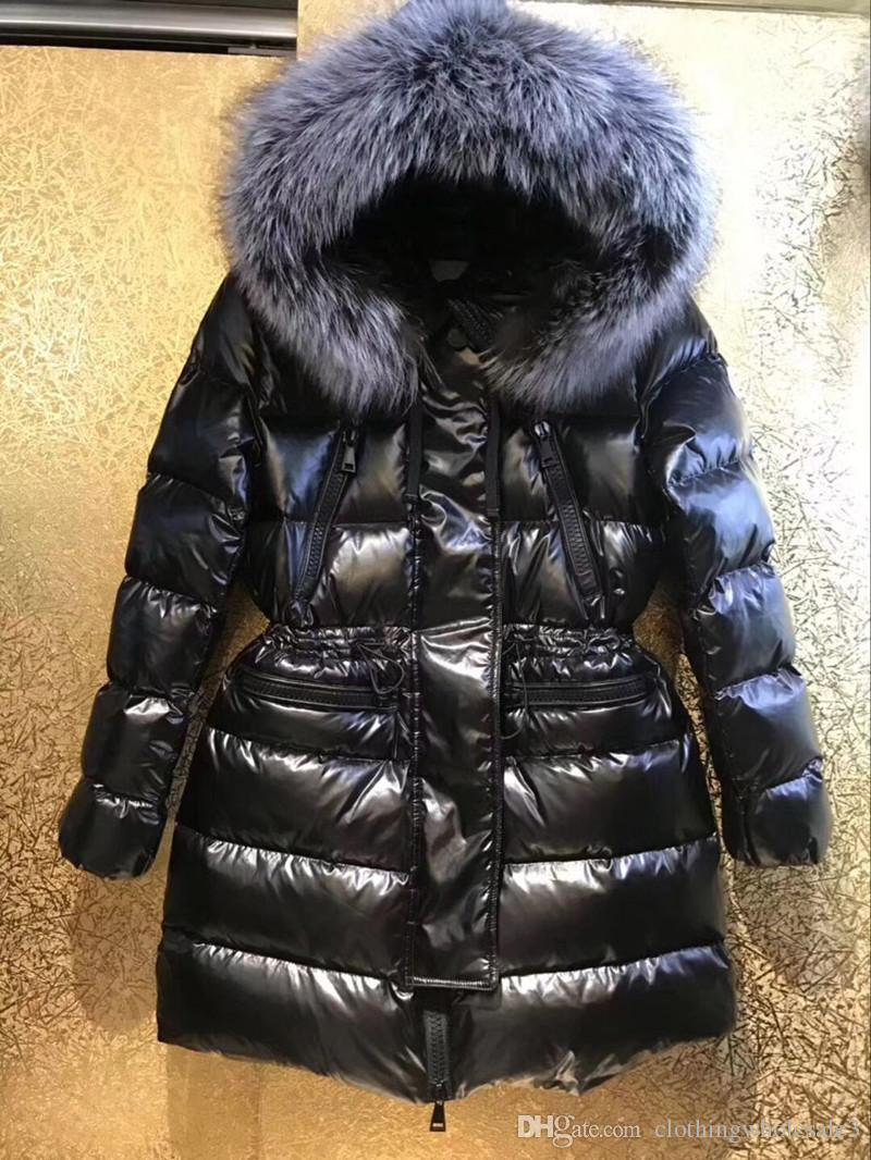 Brand Luxury Womens Down Parka with Real Big Silver Fox Fur Hooded 90% White Goose Down Coats Winter Outwear High Quality Sale