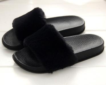 baa40e9fb Luxury Womens Slippers Designer Shoes Faux Fur Slippers Women Indoor ...