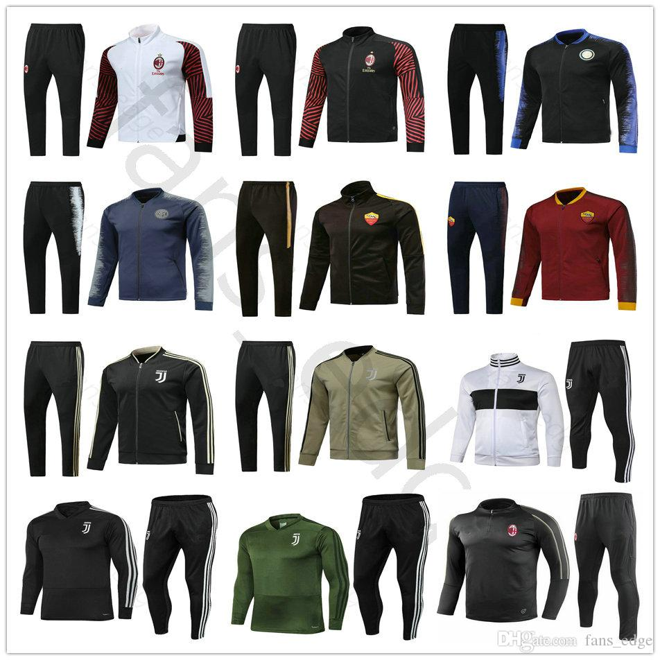 100% authentic 53f81 46bd3 18 19 Serie A Juventus FC Home Away Soccer Tracksuit Set Kit AS Roma AC  Milans Inter Football Jacket Training Suit Survetement Chandal