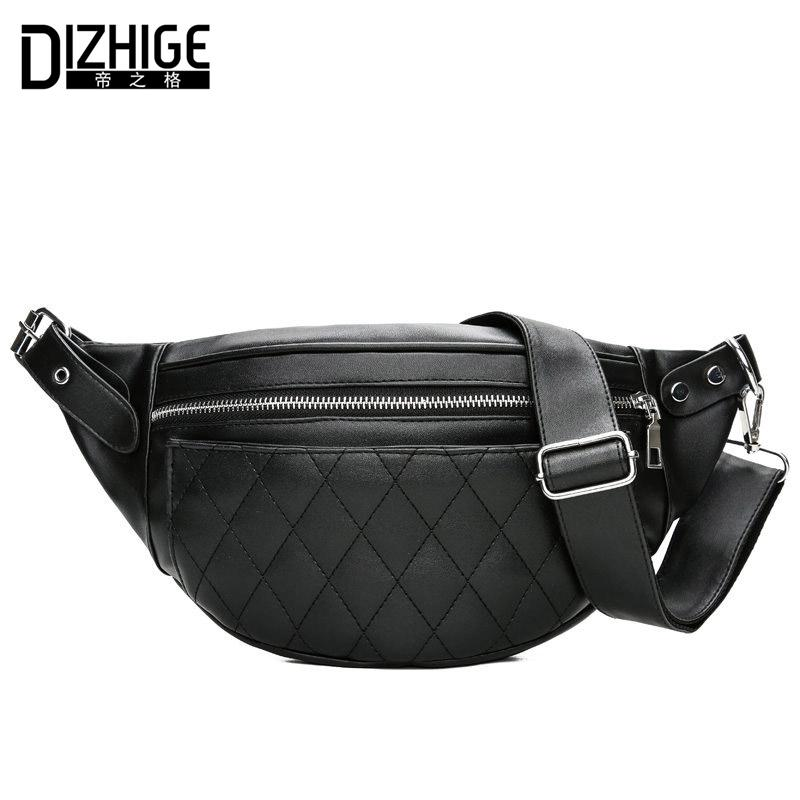 DIZHIGE Brand Fashion Women Waist Packs Black PU Leather Fanny Pack ... af72874488297