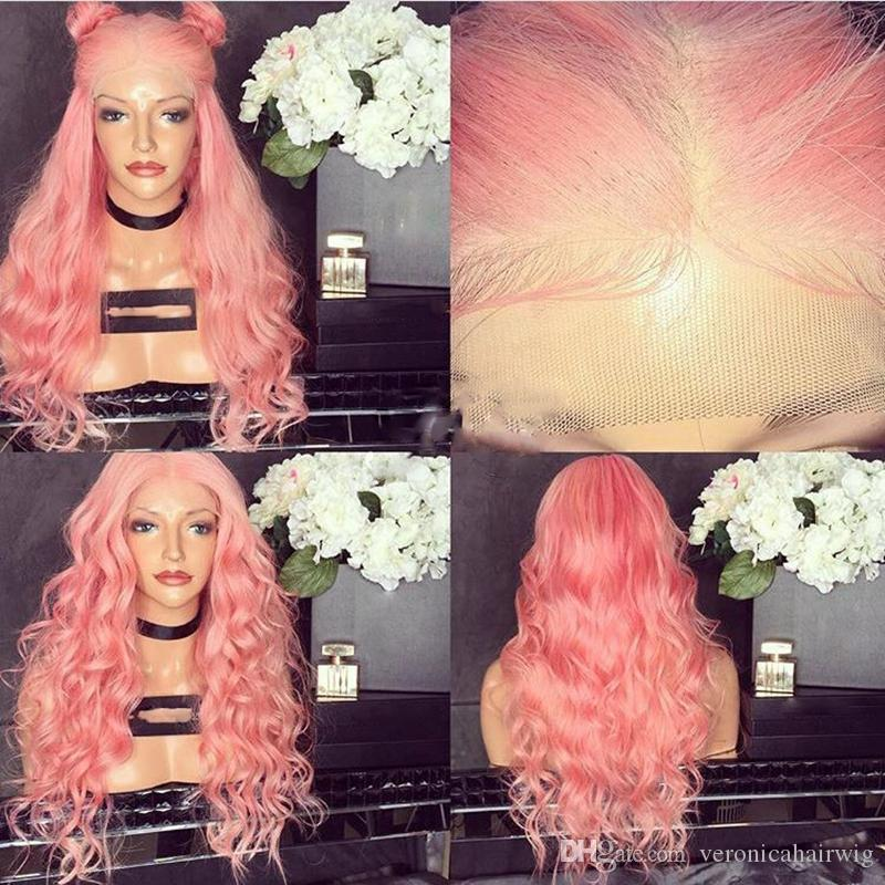 Sexy Cosplay Party Wigs Body Wave 180% Density Pastel Pink Wig Heat Resistant Glueless Synthetic Lace Front Wigs With Baby Hair For Women
