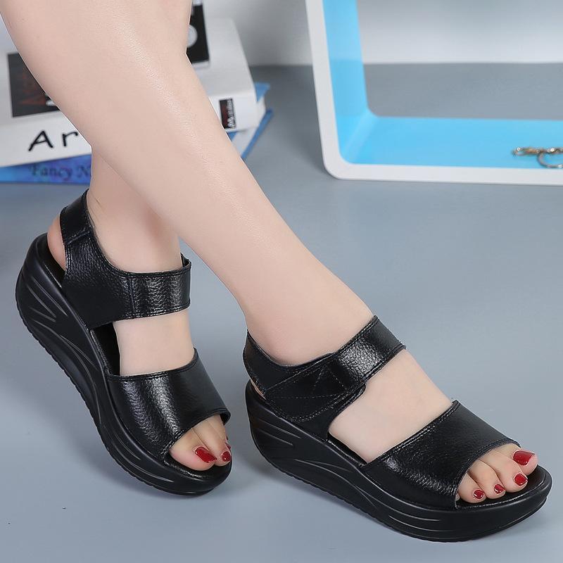 en 2018 de cuir féminin imperméable mode de sandales en été de cuir style vachette nYq0xTSX0w