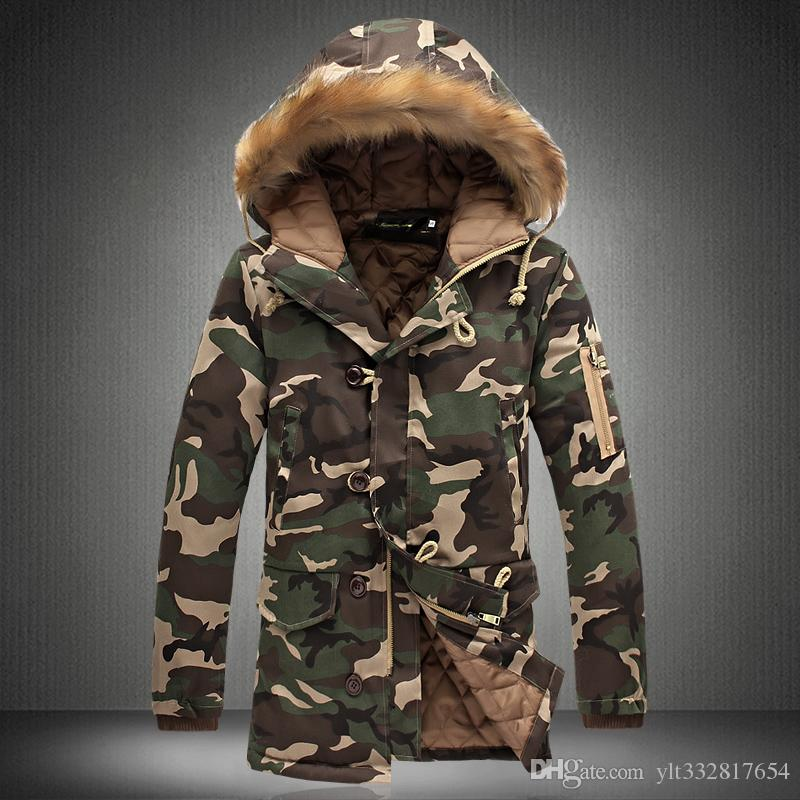 289a6b34e9987 Men Winter Camouflage Parkas Mens Military Medium Long Winter Coat  Thickening Cotton Padded Winter Camo Jacket Men With Fur Hood Leather Coats  Jean Jackets ...