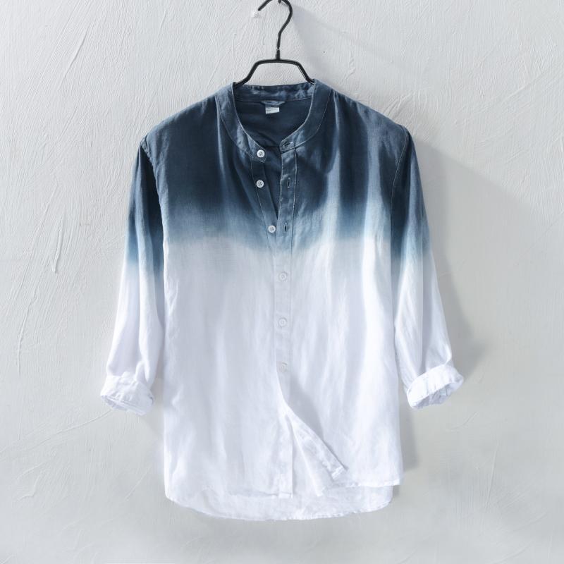 86a92a6e8a51d Satın Al 2018 Saf Keten Gömlek Erkek Uzun Kollu Yaz Ince Kesit Trendi  Gençlik Ince Degrade Keten Erkekler Rahat Gömlek, $38.41 | DHgate.Com'da
