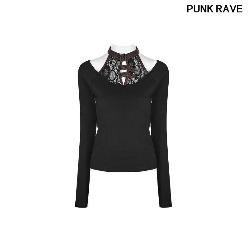 b928b38608b4ca Gothic Back Collar Snap Button Joker T Shirt Steampunk Rock Buckle Loops  Long Sleeve Plain Nylon T Shirt PUNK RAVE WT 491TCF Best T Shirts Shirts  Online ...