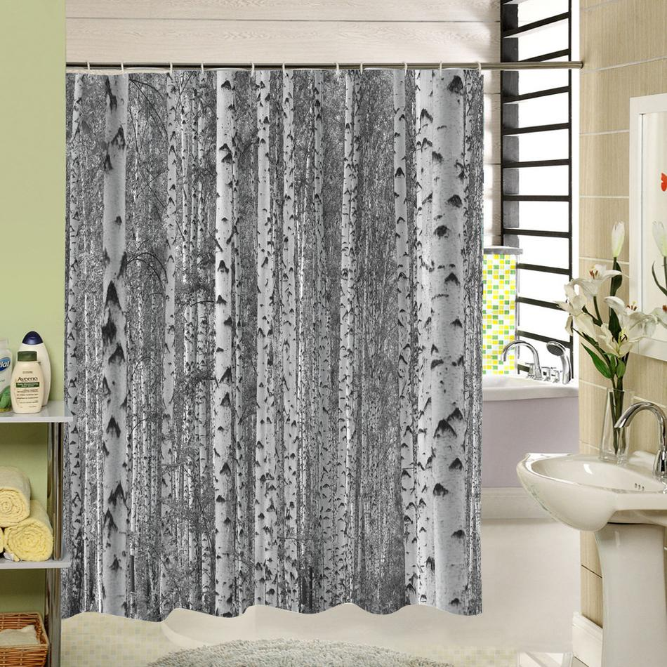 2019 Birch Tree Shower Curtain Forest Trees For Bathroom Decor Private Protective Unique Curtians Fabric Liner From Hariold 2695