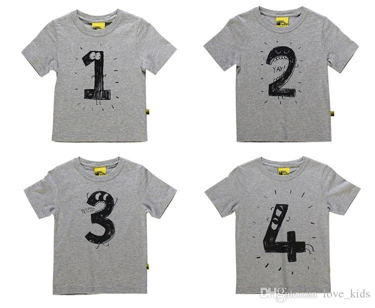 Tee-shirt à manches courtes en t-shirt à manches courtes gris blanc pour enfants