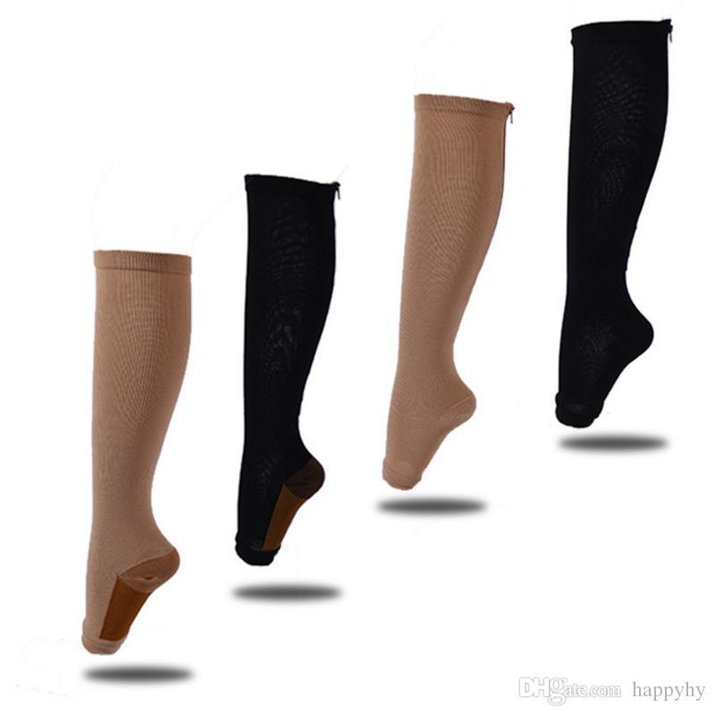 3ad4e2e58b 2017 NEW Zipper Sox Compression Socks Zipper Leg Support Knee High ...