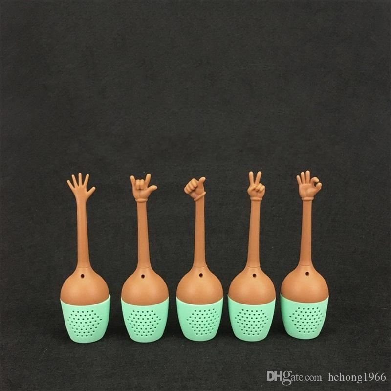 Funny Hand Gestures Tea Tool In One Set Silicone Tea Strainers Herb Loose Leaf Filter Tea Bags 5fl X