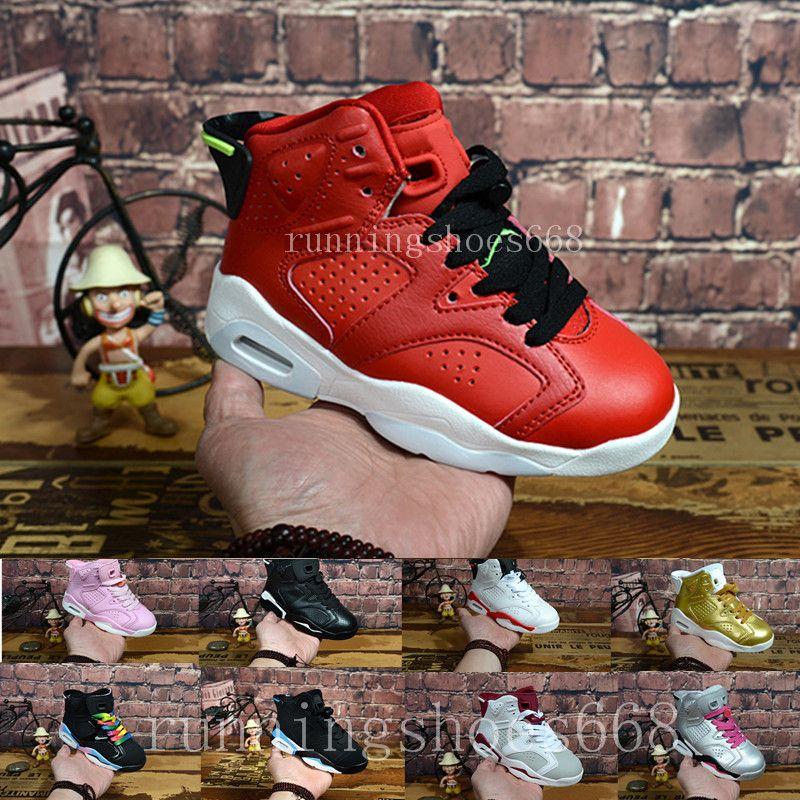 los angeles d7521 7c86a Acheter Nike Air Jordan 6 Aj6 Retro 2018 Nouveaux Enfants 6 Bébé Petits Enfants  Chaussures De Basket Ball À Vendre 6s Vêtements De Sport Baskets Garçon Et  ...