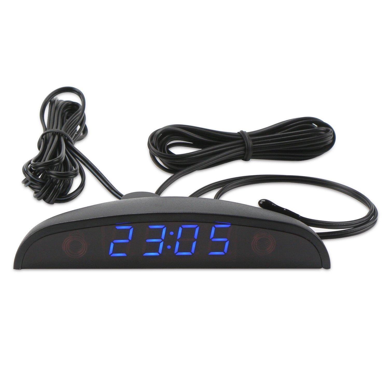 9b56040ce0f2 Compre Reloj Del Coche LED Termómetro De 24 Horas Interior Del Coche Medidor  De Temperatura Exterior Monitor De Voltaje De La Batería Digital DC 8 ~ 28V  ...