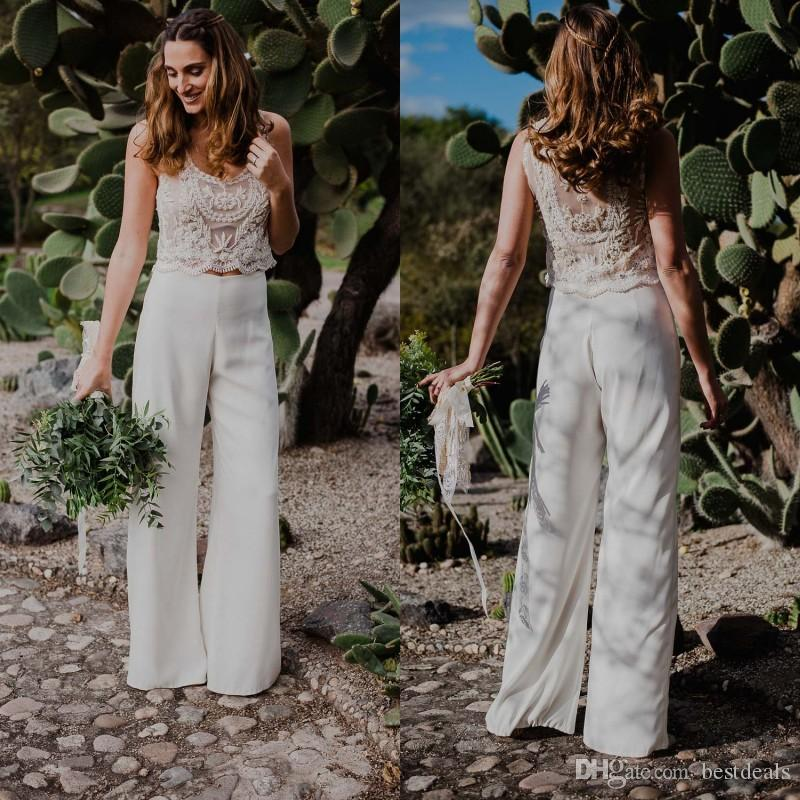 2018 Newest Two Pieces Bohemian Pant Suit Wedding Dresses Beaded Pearls See-through Country Style Beach Bridal Gowns Custom Made