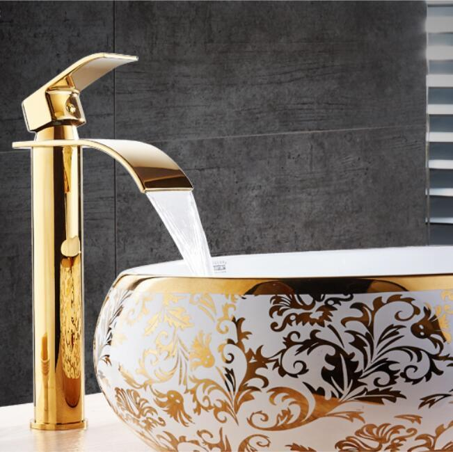 New Arrival Crane Gold And White Color Waterfall Faucet - Gold colored bathroom fixtures