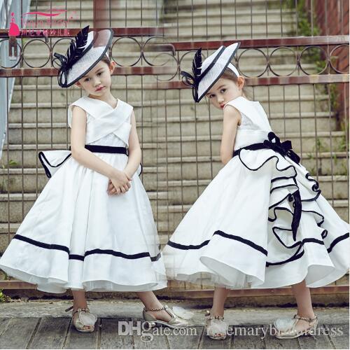 2ee2a458bbc White with Black Thread Flower Girls Dresses Vintage Elegant Vestido ...