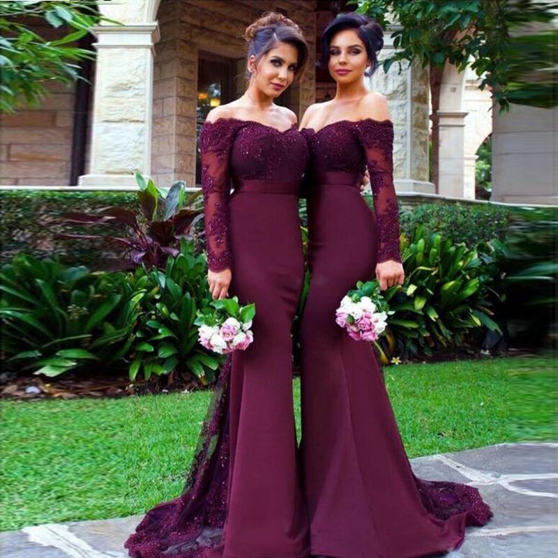 6bd29fe447 Vestido De Festa Longo Mermaid Lace Top Bodice Slim Line Long Bridesmaid  Dresses Fast Shipping Charming Wedding Party Gowns New