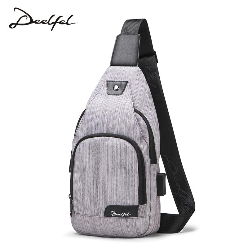 bb6fd456699e DEELFEL New Sling Bag Men USB Charging Shoulder Bag Water Resistant Chest  Large Capacity Chest Pocket For 8 Inch Ipad Backpacks For Girls Messenger  Bags For ...