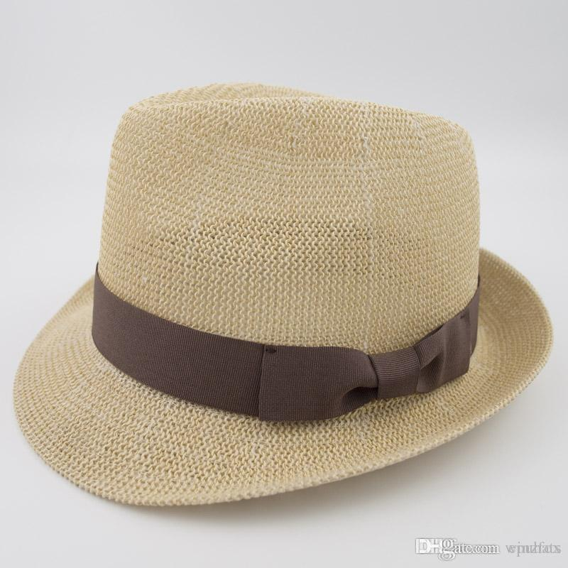 f5d91247109ede 2019 Knitted Cool Paper Straw Grosgrain Band Natrual Style Sun Hat Unisex Summer  Hat Trilby Fedora Street Fashion Hat EPU MH1853 From Epuhats, ...