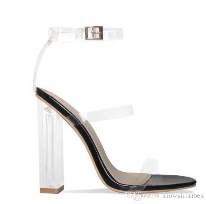 2018 شفافة PVC الكاحل إبزيم حزام النساء الصنادل روما نمط كتلة الكعوب النساء مضخات واضحة عالية الكعب أحذية النساء