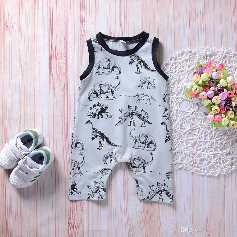 5c7fe23a0 2019 Cute Baby Boy Toddler Dinosaur Onesies Jumpsuit Romper Boutique  Sleeveless Cotton Bodysuit Baby Animal Outfit Clothes Kid Clothing 0 24M  From Bonne_kid ...