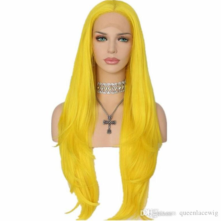 Natural Soft Cosplay Yellow Color Long Silky Straight Lace Front Wig Heat Resistantl Synthetic Hair Glueless Lace Front Wigs for Black Women