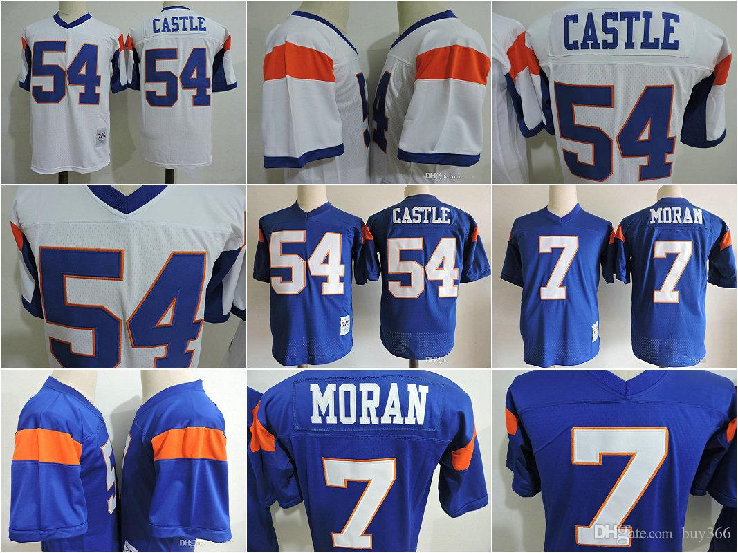 9533a6820 Mens Movie Blue Mountain State Football Jersey Stitched  54 Kevin Thad  Devlin Castle Jersey  7 Alex Moran Film White Blue Jerseys S 3XL UK 2019  From Buy366