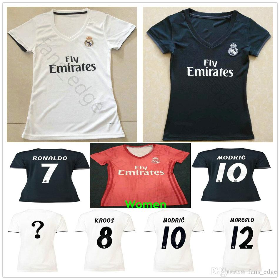 Camisetas De Fútbol De Real Madrid Para Mujer 18 19 BOLSA MODRICA ISCO  ASENSIO KROOS VARANE MARCELO Personalizada Camiseta De Fútbol De Visitante  Para Mujer ... 1c381cb4547d9