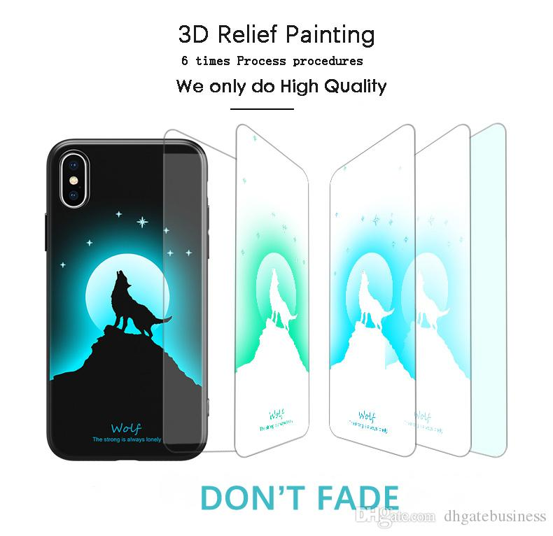 Luminous Case for Iphone X 7 8 Plus 6S 3D Soft Silicone Light Pattern Phone Case Back Cover for Iphone