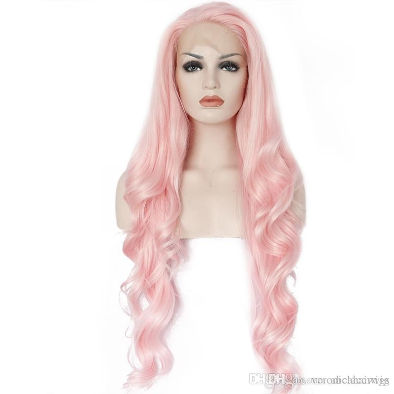 New Sexy Style Cosplay Glueless High Temperature Fiber Hair Natural Body Wave Long Pink Synthetic Lace Front Wigs for White Women