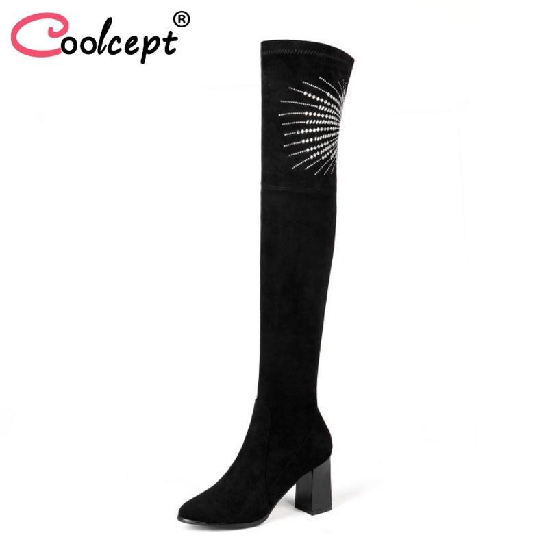 45 Sexy Schuhe Größe Heels Frauen Coolcept High Lange Overknee Stiefel Winter Pelzstiefel Warm Bling Damen Leder Kristall Echtes 31 H2E9IWD
