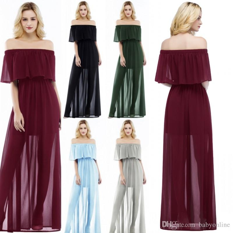 4920027fbb0 Under  30 Chiffon Bridesmaid Dresses A Line Off Shoulder Boho Styles Summer  Beach Garden Simple Maid of Honor Gowns CPS860