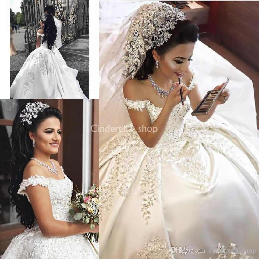 93dc4481e02 Off Shoulder Arabic Wedding Dresses 2018 Appliques Beads Corset Back Court  Train Satin Bridal Gowns Vestidos De Novia Plus Size Custom Made Ball Gown  ...