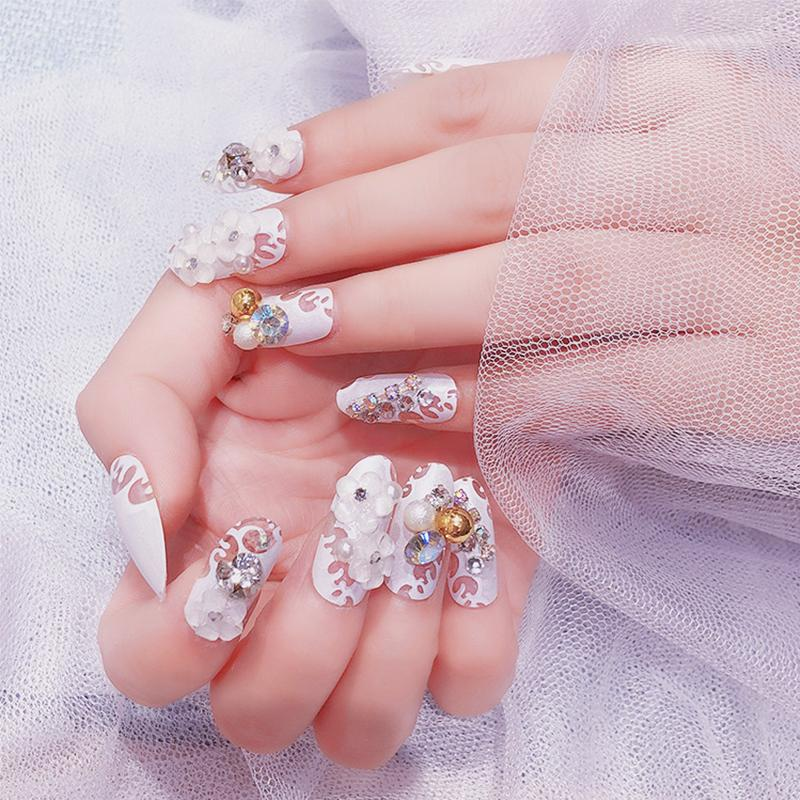 New Sexy False Nail Art With Glue Fake Nail 3d Nails Tablets Flowers