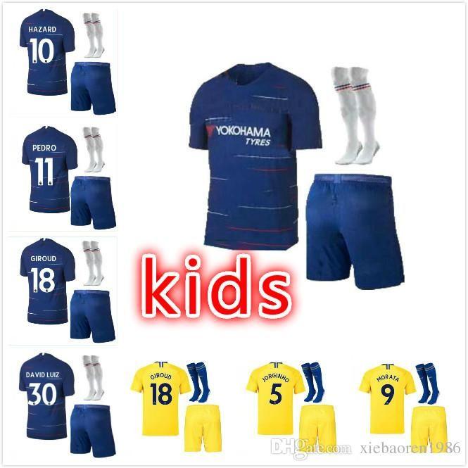 2019 2019 Chelsea FC Kids Soccer Jersey HAZARD KANTE JORGINHO GIROUD MORATA  WILLIAN BAKAYOKO RUDIGER Custom 18 19 Kids Youth Football Shirt From ... 01f190256