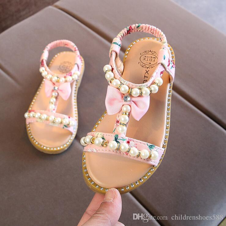 Größe 21-30 heiße 2018 Sommer neue koreanische Kinder Sandalen Mädchen öffnen Zehe Perle Prinzessin Schuhe kleine Beleg Baby Schuhe
