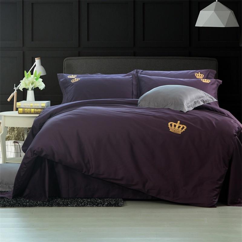 Acheter 60 S Coton Solide Violet Couleur Argent Ensembles De Literie