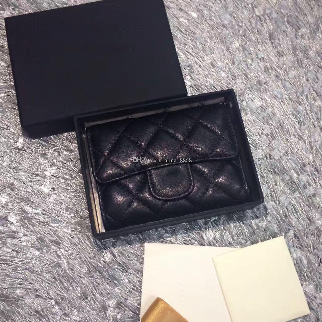2017 Women's Fashion Card Holders Genuine Leather Lambskin Quilted Flap Mini Wallets Female Purses Card Holder Coin Pouch wiht box