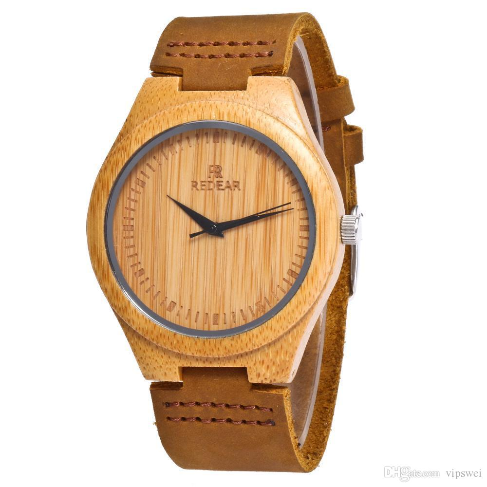 Natural Retro Men's Bamboo Wooden Watch with Brown Cowhide Leather Strap Woman ,lovers watches Japanese Quartz Movement Casual Watches